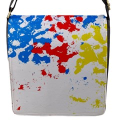 Paint Splatter Digitally Created Blue Red And Yellow Splattering Of Paint On A White Background Flap Messenger Bag (s)