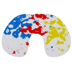 Paint Splatter Digitally Created Blue Red And Yellow Splattering Of Paint On A White Background Travel Neck Pillows