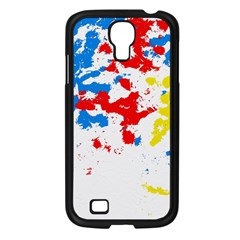 Paint Splatter Digitally Created Blue Red And Yellow Splattering Of Paint On A White Background Samsung Galaxy S4 I9500/ I9505 Case (Black)