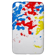 Paint Splatter Digitally Created Blue Red And Yellow Splattering Of Paint On A White Background Samsung Galaxy Tab 3 (8 ) T3100 Hardshell Case