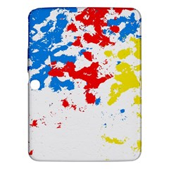 Paint Splatter Digitally Created Blue Red And Yellow Splattering Of Paint On A White Background Samsung Galaxy Tab 3 (10 1 ) P5200 Hardshell Case