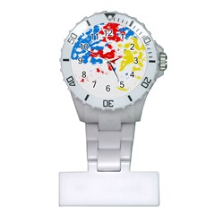 Paint Splatter Digitally Created Blue Red And Yellow Splattering Of Paint On A White Background Plastic Nurses Watch