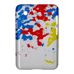 Paint Splatter Digitally Created Blue Red And Yellow Splattering Of Paint On A White Background Samsung Galaxy Tab 2 (7 ) P3100 Hardshell Case