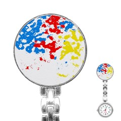 Paint Splatter Digitally Created Blue Red And Yellow Splattering Of Paint On A White Background Stainless Steel Nurses Watch