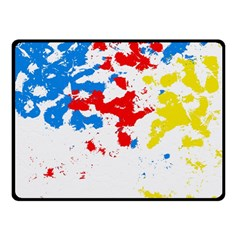 Paint Splatter Digitally Created Blue Red And Yellow Splattering Of Paint On A White Background Double Sided Fleece Blanket (small)