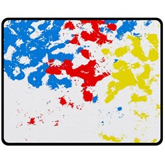 Paint Splatter Digitally Created Blue Red And Yellow Splattering Of Paint On A White Background Double Sided Fleece Blanket (Medium)
