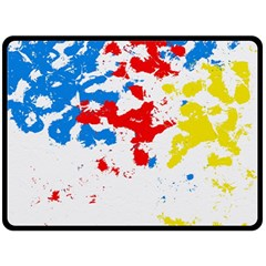 Paint Splatter Digitally Created Blue Red And Yellow Splattering Of Paint On A White Background Double Sided Fleece Blanket (large)