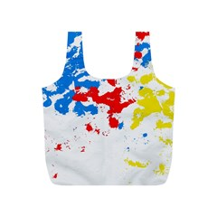 Paint Splatter Digitally Created Blue Red And Yellow Splattering Of Paint On A White Background Full Print Recycle Bags (S)