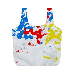 Paint Splatter Digitally Created Blue Red And Yellow Splattering Of Paint On A White Background Full Print Recycle Bags (M)