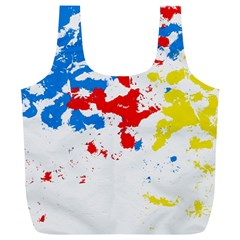 Paint Splatter Digitally Created Blue Red And Yellow Splattering Of Paint On A White Background Full Print Recycle Bags (l)