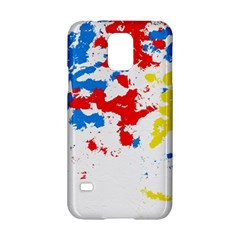 Paint Splatter Digitally Created Blue Red And Yellow Splattering Of Paint On A White Background Samsung Galaxy S5 Hardshell Case