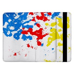 Paint Splatter Digitally Created Blue Red And Yellow Splattering Of Paint On A White Background Samsung Galaxy Tab Pro 12 2  Flip Case