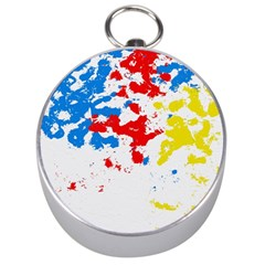 Paint Splatter Digitally Created Blue Red And Yellow Splattering Of Paint On A White Background Silver Compasses