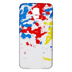 Paint Splatter Digitally Created Blue Red And Yellow Splattering Of Paint On A White Background Samsung Galaxy S5 Back Case (White)
