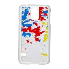 Paint Splatter Digitally Created Blue Red And Yellow Splattering Of Paint On A White Background Samsung Galaxy S5 Case (white)
