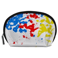 Paint Splatter Digitally Created Blue Red And Yellow Splattering Of Paint On A White Background Accessory Pouches (large)