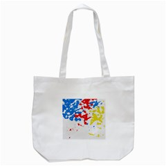 Paint Splatter Digitally Created Blue Red And Yellow Splattering Of Paint On A White Background Tote Bag (White)