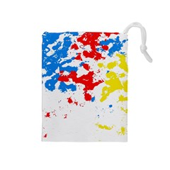 Paint Splatter Digitally Created Blue Red And Yellow Splattering Of Paint On A White Background Drawstring Pouches (medium)