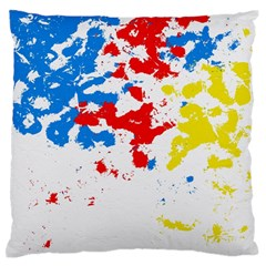 Paint Splatter Digitally Created Blue Red And Yellow Splattering Of Paint On A White Background Large Flano Cushion Case (two Sides)