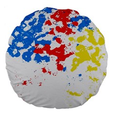 Paint Splatter Digitally Created Blue Red And Yellow Splattering Of Paint On A White Background Large 18  Premium Flano Round Cushions