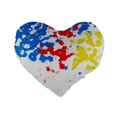 Paint Splatter Digitally Created Blue Red And Yellow Splattering Of Paint On A White Background Standard 16  Premium Flano Heart Shape Cushions