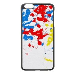 Paint Splatter Digitally Created Blue Red And Yellow Splattering Of Paint On A White Background Apple iPhone 6 Plus/6S Plus Black Enamel Case