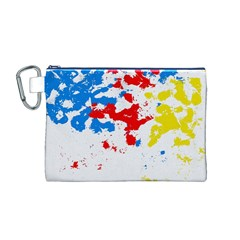 Paint Splatter Digitally Created Blue Red And Yellow Splattering Of Paint On A White Background Canvas Cosmetic Bag (m)