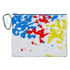 Paint Splatter Digitally Created Blue Red And Yellow Splattering Of Paint On A White Background Canvas Cosmetic Bag (xxl)