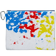 Paint Splatter Digitally Created Blue Red And Yellow Splattering Of Paint On A White Background Canvas Cosmetic Bag (XXXL)
