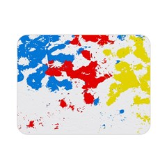 Paint Splatter Digitally Created Blue Red And Yellow Splattering Of Paint On A White Background Double Sided Flano Blanket (mini)