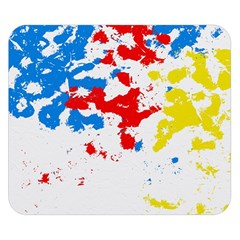 Paint Splatter Digitally Created Blue Red And Yellow Splattering Of Paint On A White Background Double Sided Flano Blanket (Small)