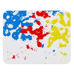 Paint Splatter Digitally Created Blue Red And Yellow Splattering Of Paint On A White Background Double Sided Flano Blanket (large)