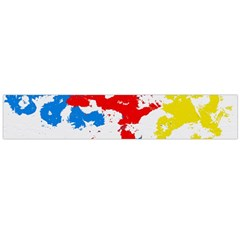 Paint Splatter Digitally Created Blue Red And Yellow Splattering Of Paint On A White Background Flano Scarf (Large)