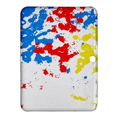 Paint Splatter Digitally Created Blue Red And Yellow Splattering Of Paint On A White Background Samsung Galaxy Tab 4 (10 1 ) Hardshell Case