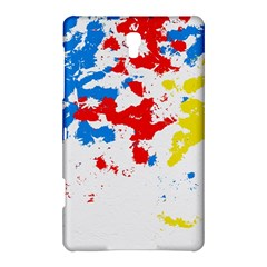 Paint Splatter Digitally Created Blue Red And Yellow Splattering Of Paint On A White Background Samsung Galaxy Tab S (8.4 ) Hardshell Case