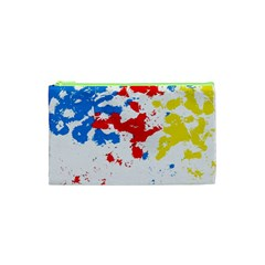 Paint Splatter Digitally Created Blue Red And Yellow Splattering Of Paint On A White Background Cosmetic Bag (xs)