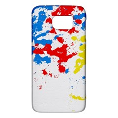 Paint Splatter Digitally Created Blue Red And Yellow Splattering Of Paint On A White Background Galaxy S6