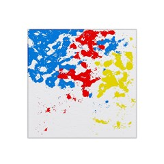 Paint Splatter Digitally Created Blue Red And Yellow Splattering Of Paint On A White Background Satin Bandana Scarf