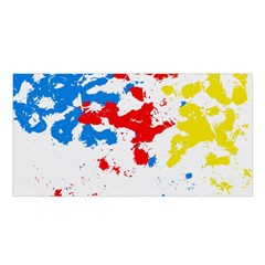 Paint Splatter Digitally Created Blue Red And Yellow Splattering Of Paint On A White Background Satin Shawl