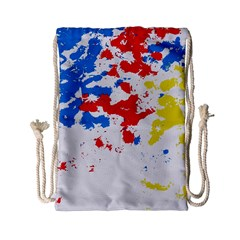 Paint Splatter Digitally Created Blue Red And Yellow Splattering Of Paint On A White Background Drawstring Bag (Small)