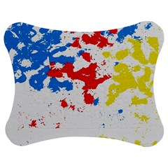 Paint Splatter Digitally Created Blue Red And Yellow Splattering Of Paint On A White Background Jigsaw Puzzle Photo Stand (Bow)