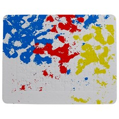 Paint Splatter Digitally Created Blue Red And Yellow Splattering Of Paint On A White Background Jigsaw Puzzle Photo Stand (Rectangular)