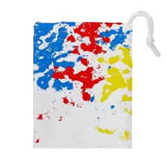 Paint Splatter Digitally Created Blue Red And Yellow Splattering Of Paint On A White Background Drawstring Pouches (Extra Large)