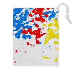 Paint Splatter Digitally Created Blue Red And Yellow Splattering Of Paint On A White Background Drawstring Pouches (XXL)
