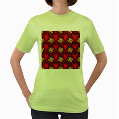 Digitally Created Seamless Love Heart Pattern Women s Green T-Shirt