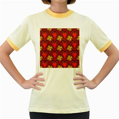 Digitally Created Seamless Love Heart Pattern Women s Fitted Ringer T Shirts