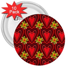 Digitally Created Seamless Love Heart Pattern 3  Buttons (10 pack)
