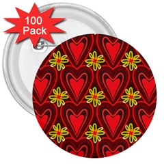 Digitally Created Seamless Love Heart Pattern 3  Buttons (100 Pack)