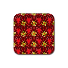 Digitally Created Seamless Love Heart Pattern Rubber Square Coaster (4 pack)