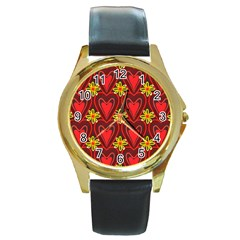 Digitally Created Seamless Love Heart Pattern Round Gold Metal Watch